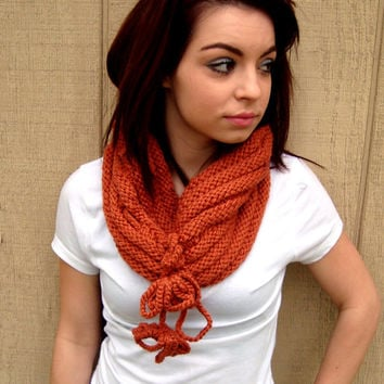 Hand Knitted Neck Warmer with Tassels - Seamless Cowl - Infinity Scarf - Orange Scarf - Winter Fashion