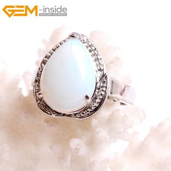 Gem-inside Elegant Poetic Droplet Clear Finger Ring Heart Shaped Finger Ring Stainless Steel Wedding Female Teen Jewelry