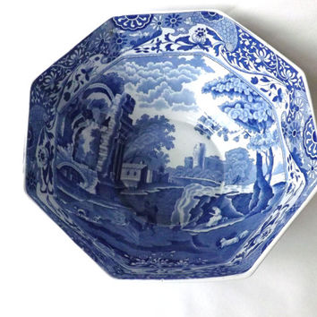 Blue and White English China Large Copeland Spode Fruit Bowl Italian Design, Vintage Salad Bowl, Staffordshire