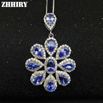 Women Natural Tanzanite Blue Gems Stone Pendant Necklace Chain 925 Sterling Silver Jewelry