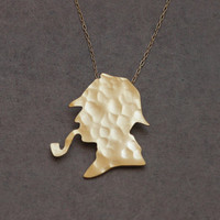 Sherlock Holmes Silhouette Gold Necklace - Detective Movie Charm - Free Shipping