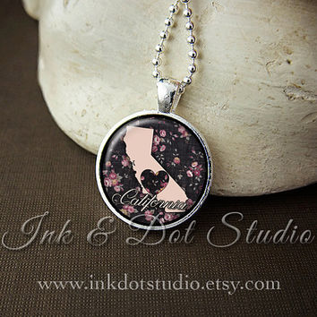 Floral California State Necklace, California Love Pendant, California State Pendant, California Gift, Arkansas Necklace, CA State