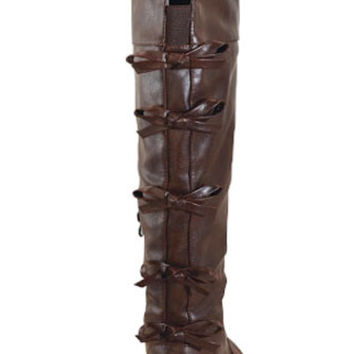 The Bow Back Riding Boots in Chocolate