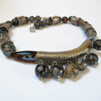 Grey beaded gemstone choker necklace of  netquartz, Botswana agate and Thai silver with magnetic clasp.
