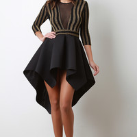 Shimmer Striped Mesh Bodice Scuba High Low Skater Dress