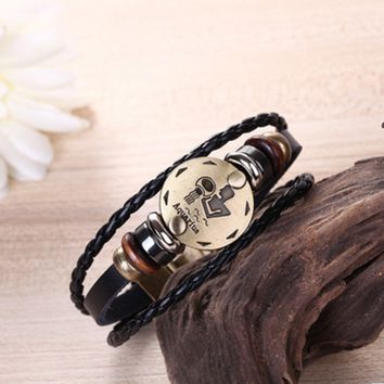 New twelve constellation woven leather bracelet