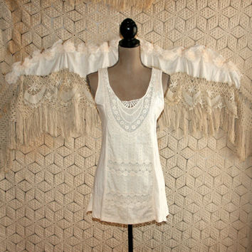 Cream Ivory Tank Top Lace Top Boho Top Summer Top Sleeveless Hippie Top Boho Clothing Hippie Clothing Long Top Small Womens Clothing