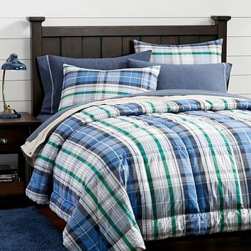 Portsmith Plaid Quilt + Sham, Navy