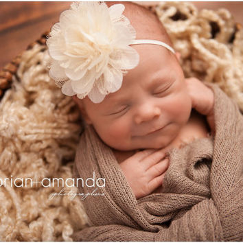 Baby Headband Ivory Flower Headband Ivory Newborn Headband Fower Girl Headband Newborn Photography Prop