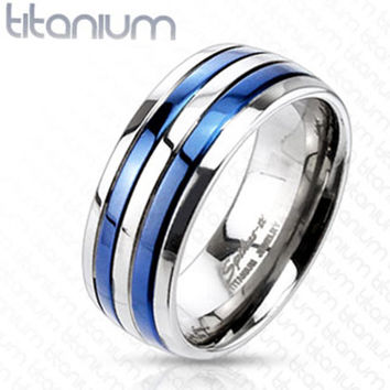 8mm Double Striped Blue IP Band Ring Solid Titanium Men's Ring