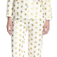 Gold Dot Printed Flannel Pajama Set