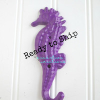 20% OFF Cast Iron Seahorse Hook Non-Distressed Dark Purple- Nautical Decor, Nautical Bathroom, Beach Decor, Coastal Decor, Nautical Nursery