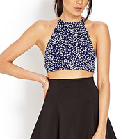FOREVER 21 Tiny Flower Halter Top Navy/White