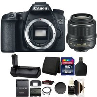 Canon EOS 70D 20.2MP Digital Camera with Battery Grip + 16GB Accessory Kit - Walmart.com