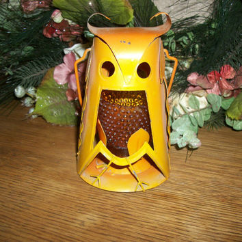 Hanging Owl Lantern with Amber Glass Candle Holder Orange Metal Indoor Outdoor Mod Retro Vintage1960's Home Fall Halloween Decoration