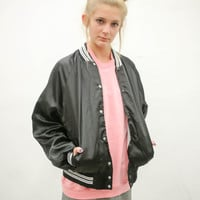 vtg 80s black baseball jacket, chevy 1980s coat, unisex outerwear, vintage 90s, tumblr, american apparel, soft grunge, vaporwave fashion