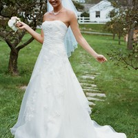 Embroidered Organza Gown With 3D Floral Details - David's Bridal