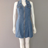 Blue Denim Zip Up Jumper Dress 1990s Medium Jean Dress Summer Dress Short Denim Dress True Blu Mini Dress