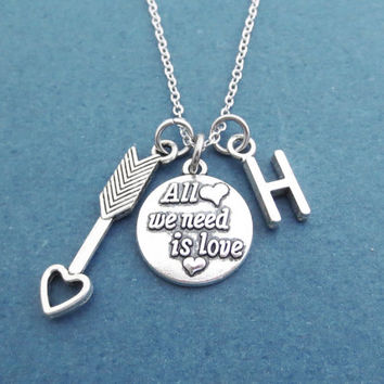 Personalized, Letter, Initial, All we need is love, Cupid, Arrow, Heart, Lover, Silver, Necklace, Best friends, Lovers, Christmas, Gift