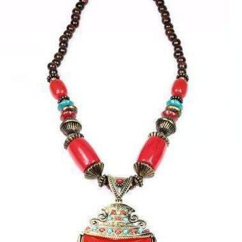 Coral Red & Turquoise Tribal Art Deco Necklace