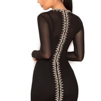 Clothing : Bodycon Dresses : 'Alecta' Black Crystal Spine Embellished Sheer Tulle Mesh Dress