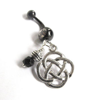 Celtic Knot Belly Button Jewelry Black and Silver Bellybutton Ring Navel Piercing Belly Ring Celtic Jewelry Irish Jewelry