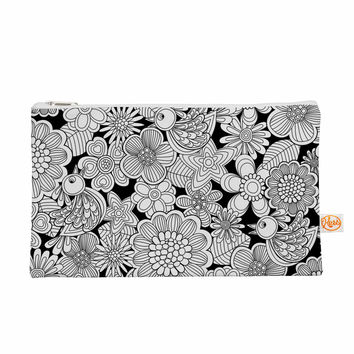 "Julia Grifol ""Welcome White Birds"" Black Floral Everything Bag"