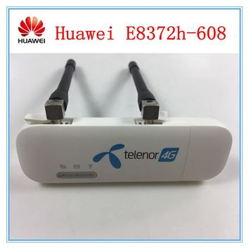 Unlocked Huawei E8372 E8372h-608 LTE USB Wingle LTE Universal 4G USB WiFi Modem car wifi ( Plus 2 pcs antenna )