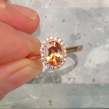 Golden Peach Sapphire 14k Rose Gold Diamond Halo Engagement Ring Weddings Anniversary