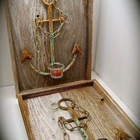 """Rustic Sconce, Nautical Sconce, Coastal Sconce, Rusty Anchor Sconce Pair, Very Unique, Comes Ready to Hang 18.5"""" Tall by 13"""" Across"""