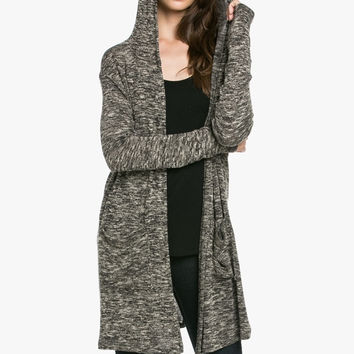 Cozy Sweater Hooded Cardigan Beige/Black