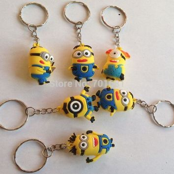 DCCKDZ2 EPACK  free 40pcs 3.5cm pvc minion Keys Chain Kids 3D Despicable Me Minions Action Figure Keychain Keyring mixed 6 designs R