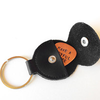 guitar pick keychain guitar pick holder, make a joyful sound psalm religious christian gift