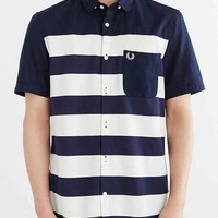 Fred Perry Pique Stripe Button-Down Shirt- Blue