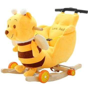 Children Animal Rocking Chair with Dual-purpose with 12 Songs. It is a rocking chair and it also be a stroller to pull down the wheels. Age : 6 month-4 years old.