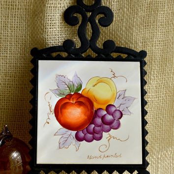 Vintage Cast Iron and Tile Yellow, Purple and Brown Fruit Trivet // Vintage Wall Hanging //