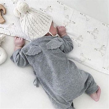Solid Color Baby Boy Girls Rompers Long Sleeve Cotton Angel Baby Soft Clothes Wings Rompers Newborn Kids Baby Boy Girls Outfits