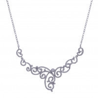 925 Sterling Silver CZ Swirl Necklace