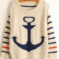 Blue Navy Anchor Striped Loose Mohair Pullovers Sweaters