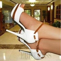 $ 68.39 Elegant White Coppy Leather Ankle Strap Peep Toe High Heel Sandals