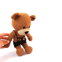 crocheted boy teddy bear, fall stuffed brown bear, amigurumi teddy bear, baby toy, animal, brown beige caramel, nursery decor, baby shower