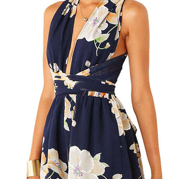 Navy Chiffon Criss Crossed Romper