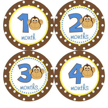 Monthly Onesuit Stickers Baby Month Stickers Boy Blue Brown Yellow Mod Monkey Jungle Month Onesuit Stickers Baby Shower Gift Photo Prop Mason2