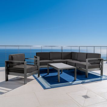 Coral Bay Outdoor Gray Aluminum 5 Piece Sectional Sofa Set with Club Chair