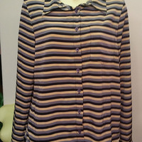 striped button down top womens size small long sleeve multi color shirt clothing