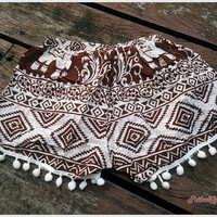 Brown Pom Pom Shorts Rayon Boho Hobo Beach Hippie Hipster Dot Trimming Paisley Clothing Aztec Ethnic Bohemian Ikat Sleepwear Underwear Trim