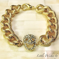 Chunky Chain Skull Bracelet 18K Gold Plated Faux Pave Textured Thick Statement Michael Kors Marc Jacobs Celebrity Inspired