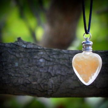 Perfume Bottle Necklace - Heart Perfume Pendant - Gold Rush - Amber, Musk, Vetiver