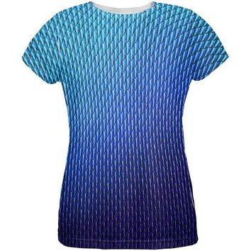 ONETOW Halloween Blue Ice Dragon Scales Costume All Over Womens T Shirt