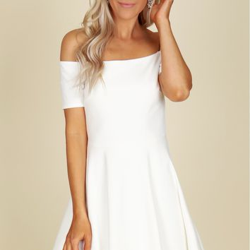 Off The Shoulder Fit And Flare Dress White